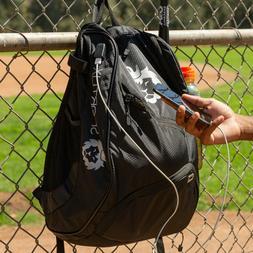 Baseball Backpack Bat Bag | Black Softball Bat Bag w/ USB Ch