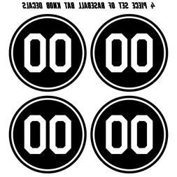 Baseball Bat Knob Decal Set - Custom Number Knob Sticker Set