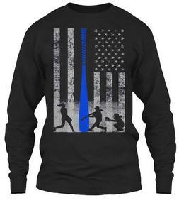 Blue Softball Flag 2-sided Bat Gildan Long Sleeve Tee T-Shir