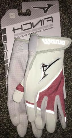Mizuno Finch Select Batting Gloves Red White Youth Large Fas