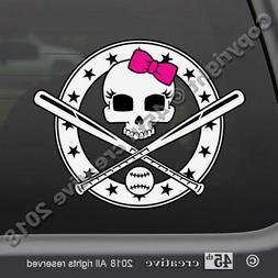 Girls Softball Skull Decal Sticker - girl softball bat ball