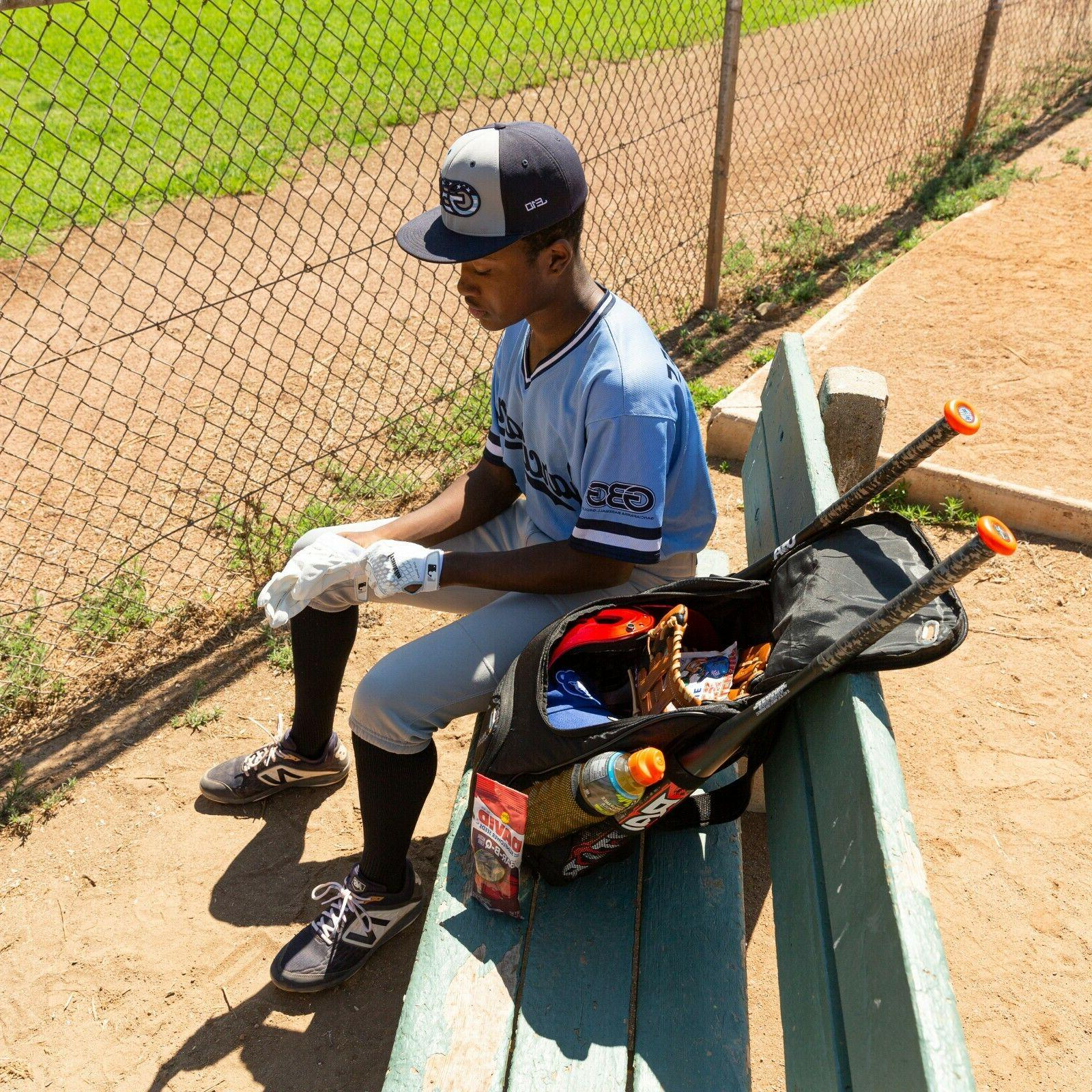 Baseball Backpack   Black Bag USB Charger Youth
