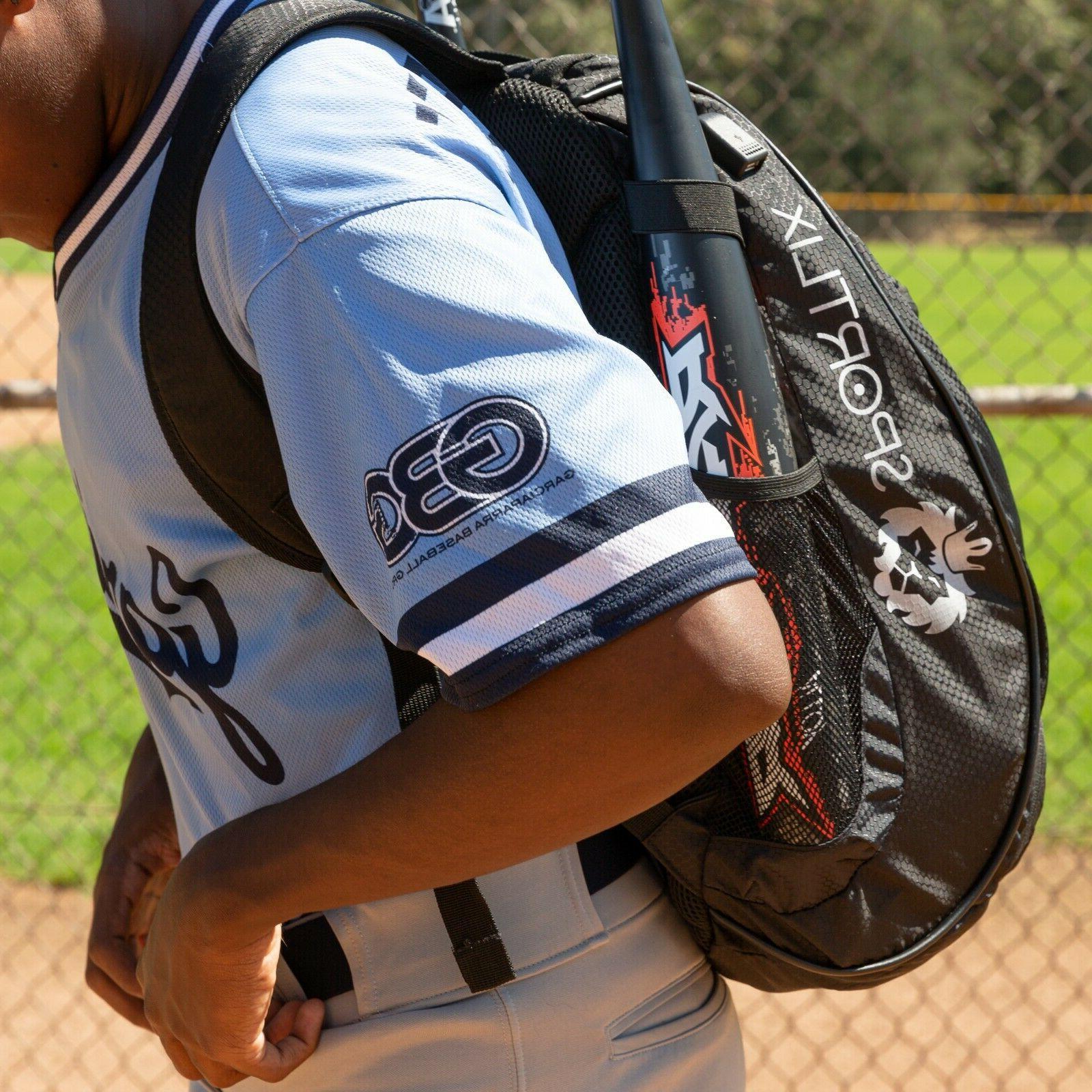 Baseball Backpack   Black Softball Bat Bag USB Youth &