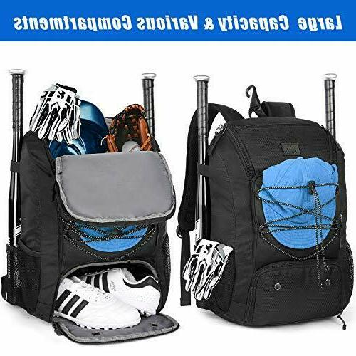 MATEIN Backpack, Bat Bag with Shoes Compartment for Youth,