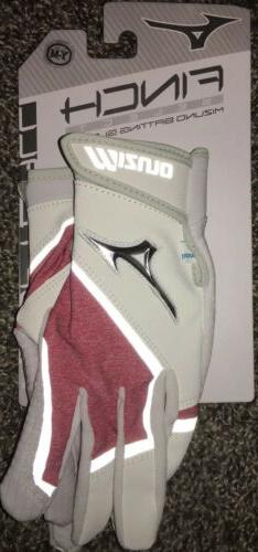 Mizuno Finch Select Batting Gloves Red White Youth Medium Fa