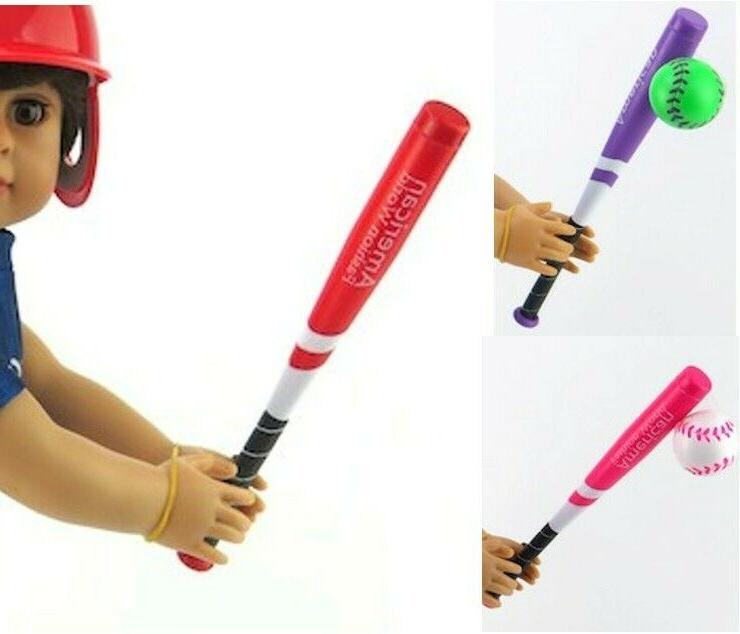 """Red Pink or Purple Baseball Softball Bat with Ball fits 18"""""""