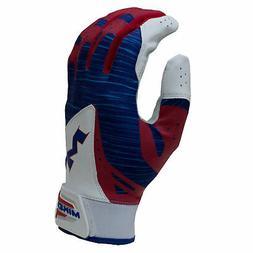 Miken MBGL18 Baseball/Softball Batting Gloves - Red/White/Bl