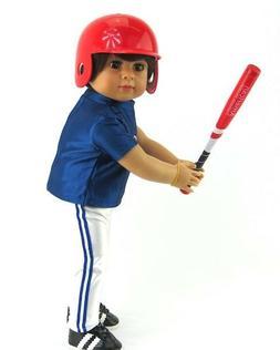 "Red Baseball/Softball Bat, Ball & Helmet Fits 18"" Dolls such"