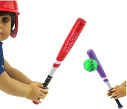 "Red or Purple Baseball Softball Bat with Ball fits 18"" Ameri"