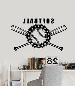 Vinyl Wall Decal Softball Bat Game Sport Logo Stickers