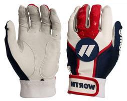 Worth WBATGL Softball Batting Gloves / Red-White-Blue / Adul