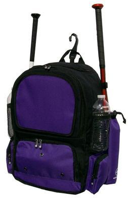 Youth Baseball Softball Bat Backpack in Black and Purple Chi